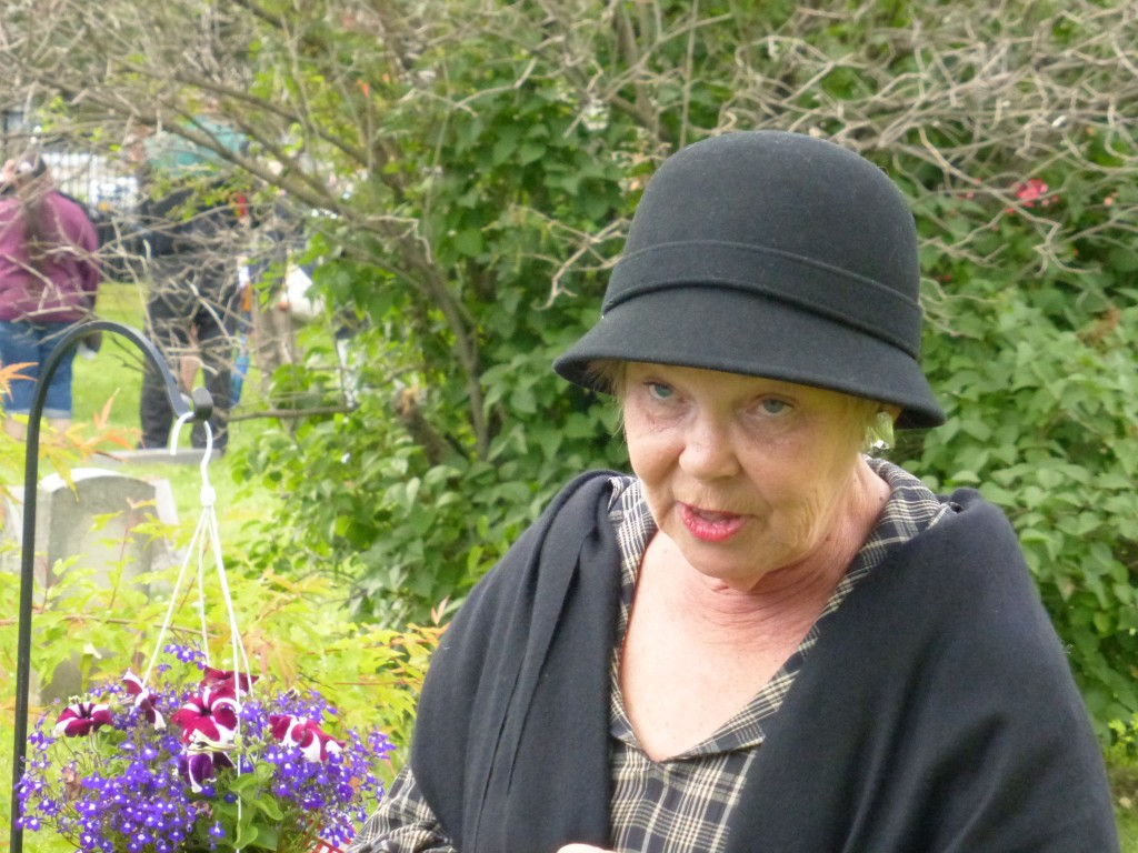 Linda Benson at last year's Stories in the Cemetery, 7.13.14