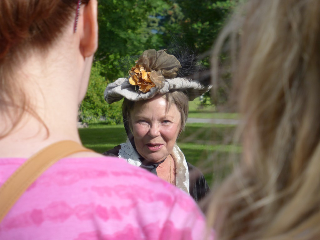 Linda Benson at Stories at the Cemetery, 7.12.15, Anchorage Memorial Park Cemetery
